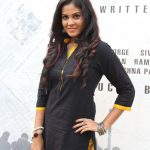 Actress Chandini Tamilarasan at Karichoru Movie Poojai Stills